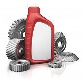 image of oil can  - motor oil can with gears - JPG