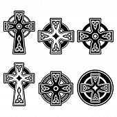 image of celtic  - Celtic crosses white pattern set isolated on white - JPG
