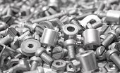 pic of bolt  - Bolts as background, grey bolts, tools for the manufacture of