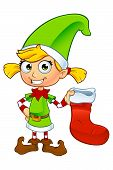 stock photo of elf  - A cartoon illustration of a cute girl elf character dressed in green - JPG
