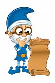 pic of elf  - A cartoon illustration of a old looking elf character dressed in blue - JPG