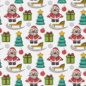 stock photo of christmas claus  - Vector seamless Christmas pattern - JPG