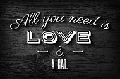 stock photo of lovers  - Cute typographic poster for cat lovers - JPG