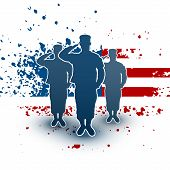 picture of salute  - Saluting soldiers silhouette on american flag background - JPG