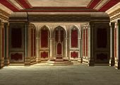 picture of throne  - 3D digital render of a beautiful fairytale throne room in red and gold - JPG