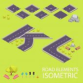 pic of letter k  - Road elements isometric - JPG
