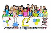 picture of pre-adolescent child  - Children Holding Billboard with Education Concepts - JPG