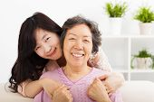foto of mother daughter  - happy asian mother and her daughter  together - JPG