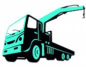 picture of boom-truck  - vector illustration of a truck mounted hydraulic crane cartage hoist done in retro style viewed from a low angle - JPG