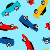 stock photo of street-rod  - Street racing cars in a seamless pattern  - JPG