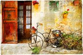 foto of street-art  - charming street in Valdemossa village with old bike - JPG
