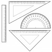 image of protractor  - image of Protractor Ruler set Vector isolated on white - JPG
