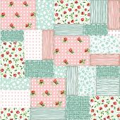 picture of shabby chic  - Imitation sewn pieces of fabric in a patchwork style shabby chic - JPG