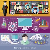 stock photo of online education  - Set icons for online education - JPG