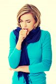 picture of cough  - Young woman has a flu - JPG