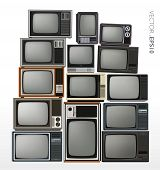 stock photo of tv sets  - Vector set of stacked retro and vintage televisions - JPG