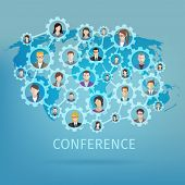 picture of gear  - Global business conference concept with world map and people in gears connected vector illustration - JPG