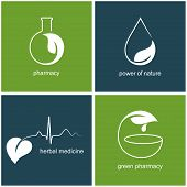 stock photo of retort  - Set of icons and emblems with leaves for green pharmacy and herbal medicine - JPG