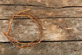 picture of crown-of-thorns  - Crown of thorns on old wooden background - JPG
