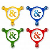 picture of ampersand  - four abstract vector objects and a colored ampersand - JPG