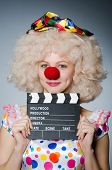 foto of clapper board  - Clown with movie clapper board - JPG
