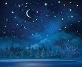pic of starry night  - Night winter  wonderland scene - JPG