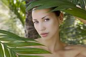 pic of palm  - Sexy beautiful caucasian woman hiding behind the palm leaves in the in the tropical forest in India - JPG