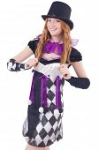 stock photo of harlequin  - A girl in harlequin costume isolated on white - JPG
