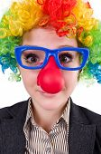 image of wig  - Businessman with clown wig isolated on white - JPG