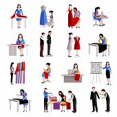 picture of tailoring  - Dressmaker icons set with fashion workers and designer tailoring measuring and sewing isolated vector illustration - JPG
