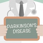 stock photo of reprocess  - minimalistic illustration of a doctor holding a blackboard with Parkinsons Disease text - JPG