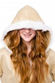 stock photo of eskimos  - Eskimo girl wearing clothes of all fur isolated on white - JPG