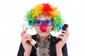 pic of wig  - Businessman with clown wig isolated on white - JPG