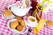 picture of croissant  - afternoon tea with croissants cake and chocolate cookies - JPG