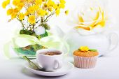stock photo of continental food  - continental breakfast with cake and fruit tea - JPG