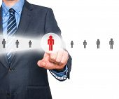 image of recruiting  - Businessman pressing button on virtual screens - JPG