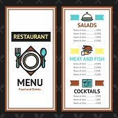 picture of cocktail menu  - Restaurant menu template with salads meat fish dishes and cocktails vector illustration - JPG