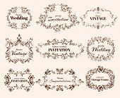 image of congratulations  - Vintage floral ornate calligraphic frames for wedding and congratulations vector illustration - JPG