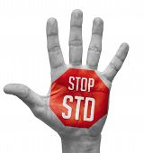 stock photo of std  - Stop STD red Sign Painted  - JPG