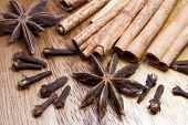 picture of christmas spices  - Tinted photo of spices for Christmas coockies and mulled wine - JPG