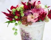 picture of vase flowers  - Beautiful flowers bouquet decor in vase close - JPG