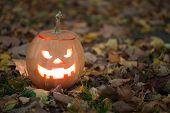 stock photo of jack-o-lantern  - Angry halloween jack - JPG