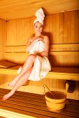 stock photo of sauna woman  - Spa beauty well being and relax concept - JPG
