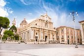foto of piazza  - Piazza del Duomo in Catania with the Cathedral of Santa Agatha in Catania in Sicily - JPG