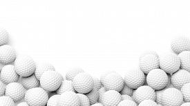 image of balls  - Golf balls pile with copy - JPG
