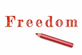 picture of freedom speech  - Freedom text written red pencil white background - JPG