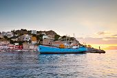 picture of hydra  - Boats mooring along a pier in harbour of Hydra - JPG