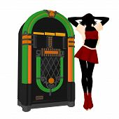 image of jukebox  - Girl on roller skates standing near a jukebox silhouette on a white background - JPG