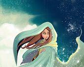 stock photo of fantastic  - Cartoon pretty  girl in a fantastic dream land illustration - JPG