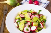 stock photo of radish  - Salad from different kinds of radishes and green onions - JPG